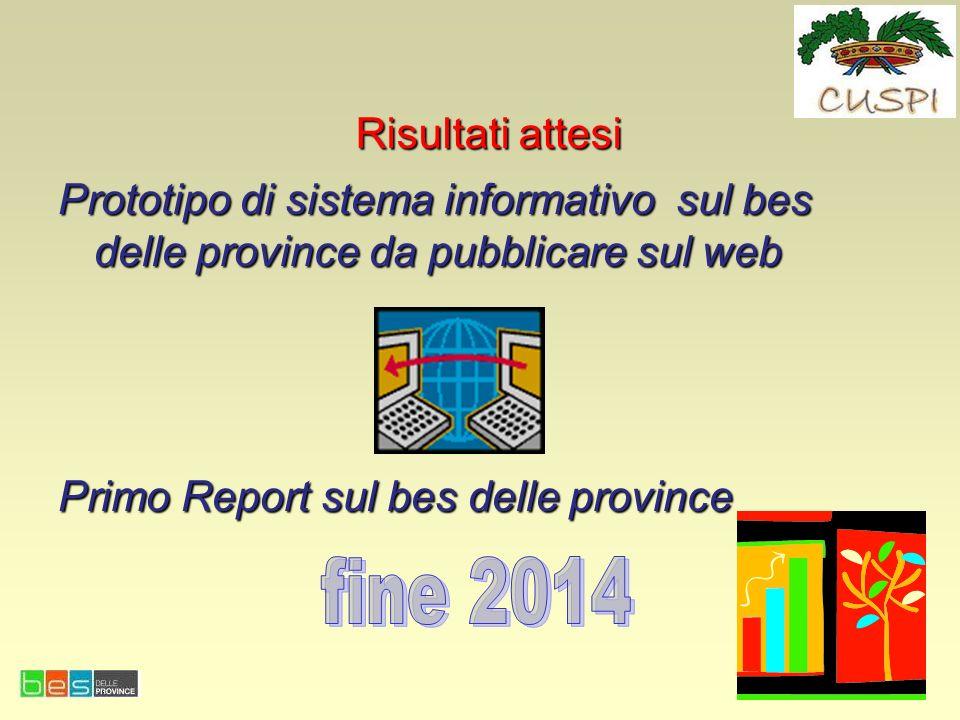 Risultati attesi Prototipo di sistema informativo sul bes delle province da pubblicare sul web. Primo Report sul bes delle province.