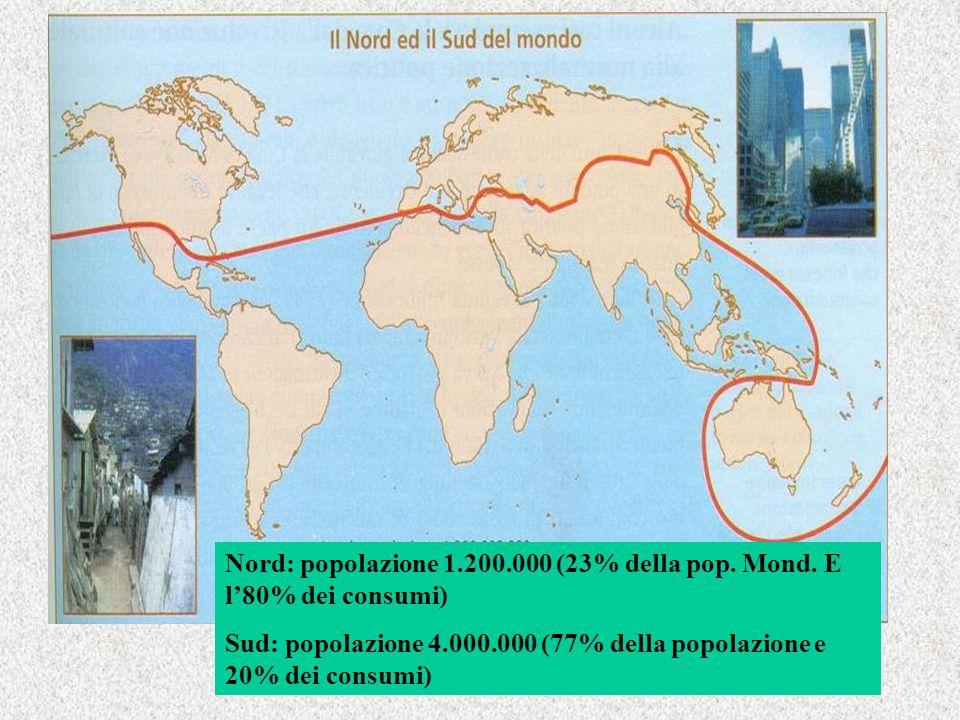 Nord: popolazione 1.200.000 (23% della pop. Mond. E l'80% dei consumi)