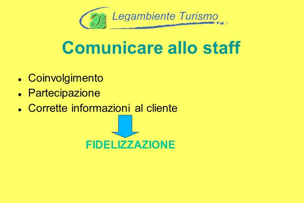 Comunicare allo staff Coinvolgimento Partecipazione