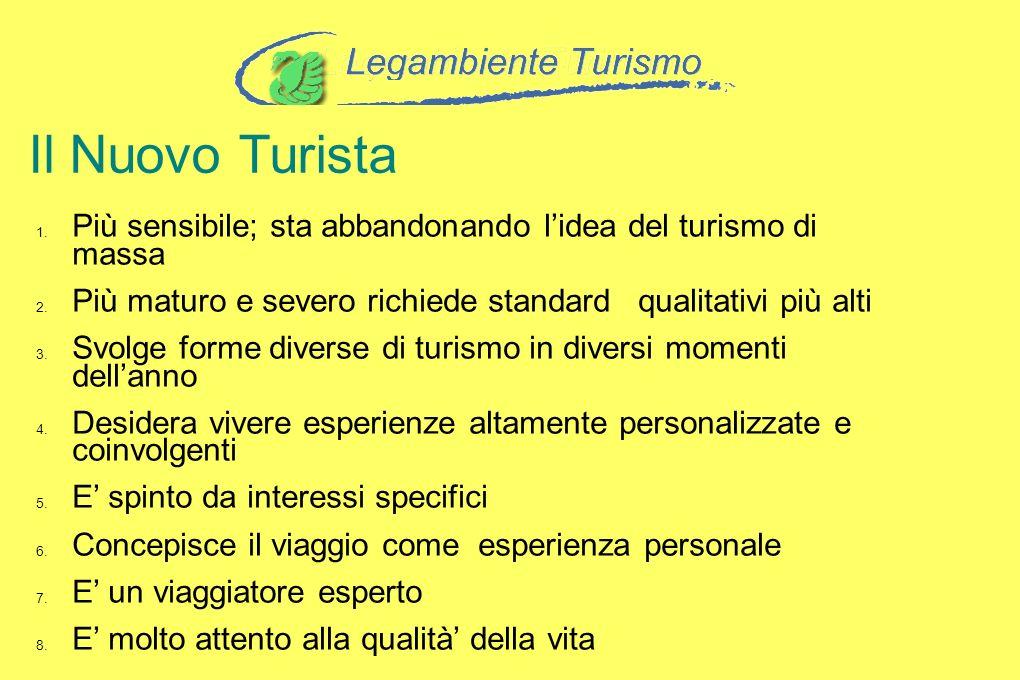 Il Nuovo Turista Più sensibile; sta abbandonando l'idea del turismo di massa. Più maturo e severo richiede standard qualitativi più alti.