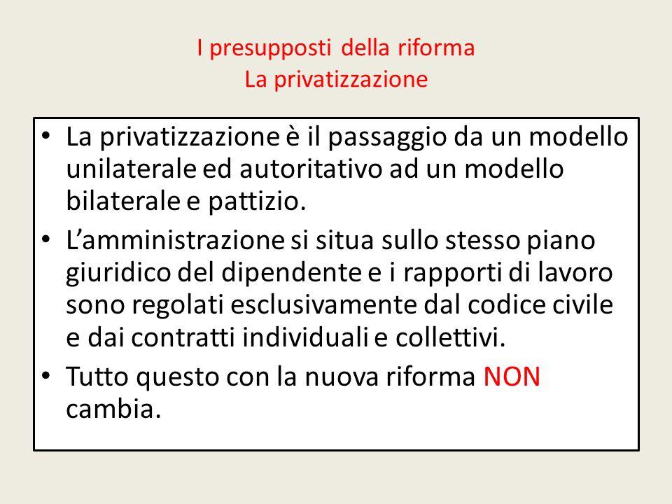 I presupposti della riforma La privatizzazione