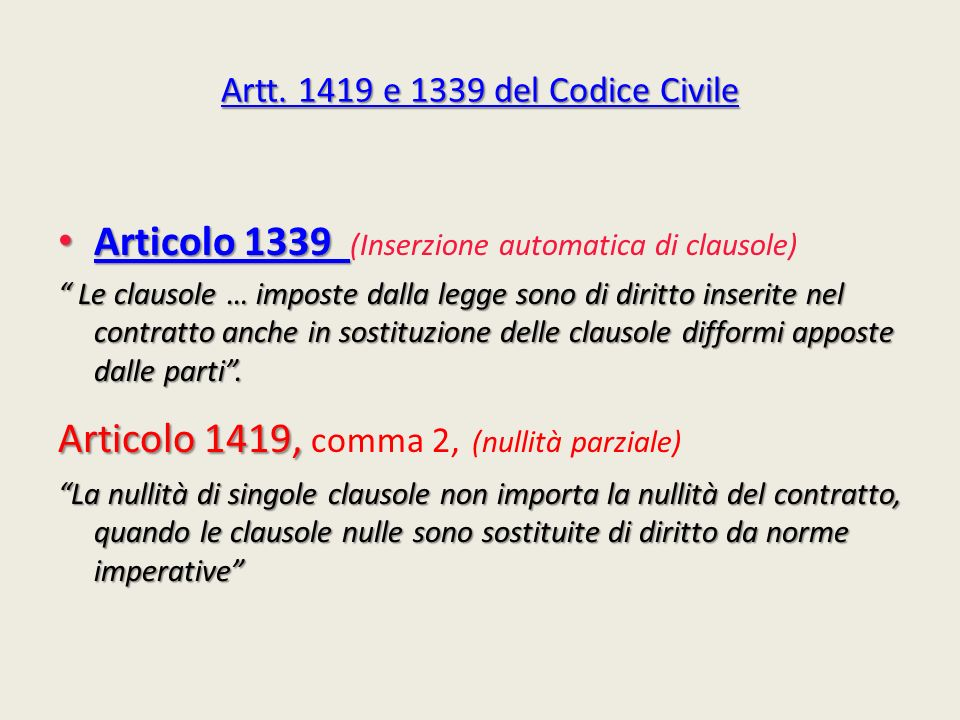 Artt. 1419 e 1339 del Codice Civile