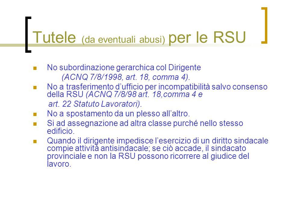 Tutele (da eventuali abusi) per le RSU