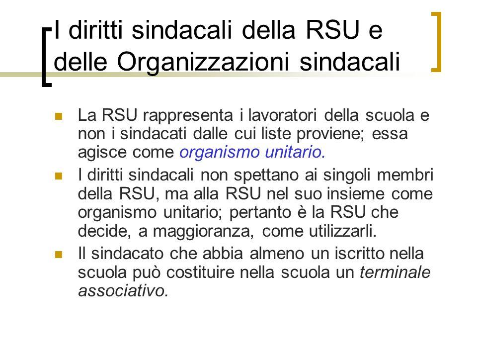 I diritti sindacali della RSU e delle Organizzazioni sindacali