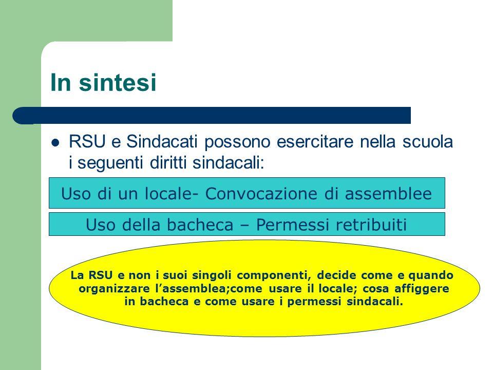 In sintesi RSU e Sindacati possono esercitare nella scuola i seguenti diritti sindacali: Uso di un locale- Convocazione di assemblee.