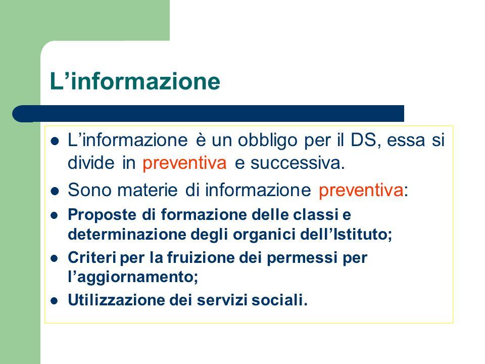 L'informazione L'informazione è un obbligo per il DS, essa si divide in preventiva e successiva. Sono materie di informazione preventiva: