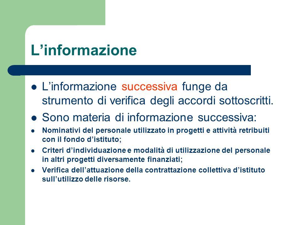 L'informazione L'informazione successiva funge da strumento di verifica degli accordi sottoscritti.
