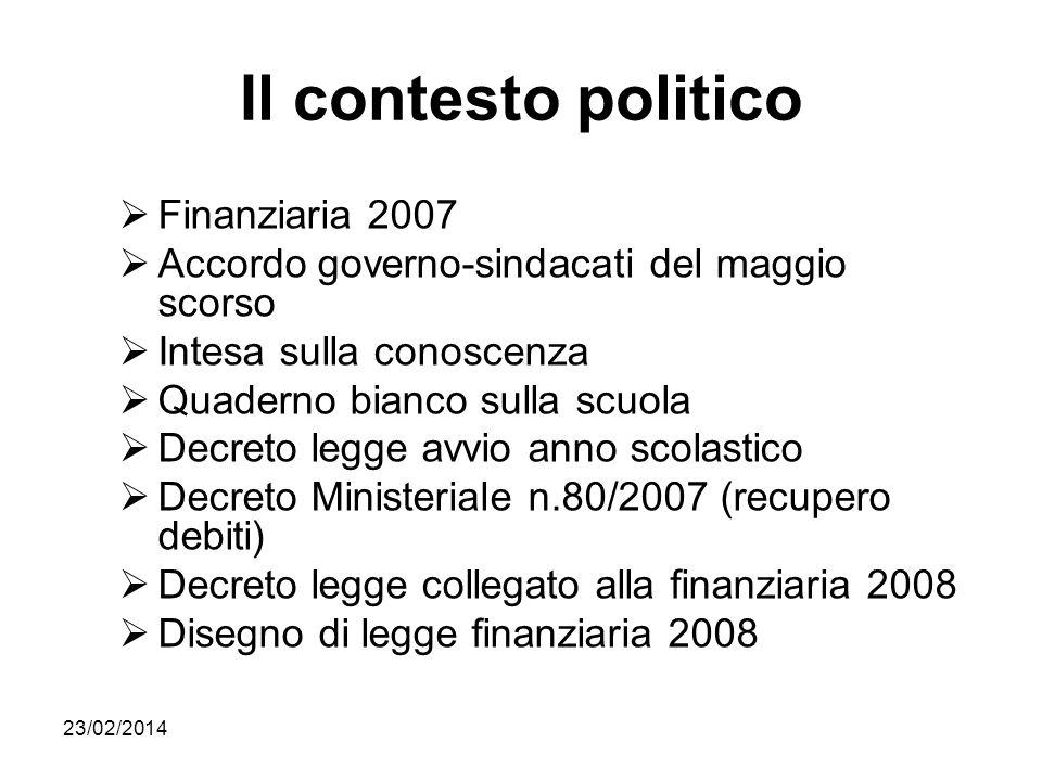 Il contesto politico Finanziaria 2007