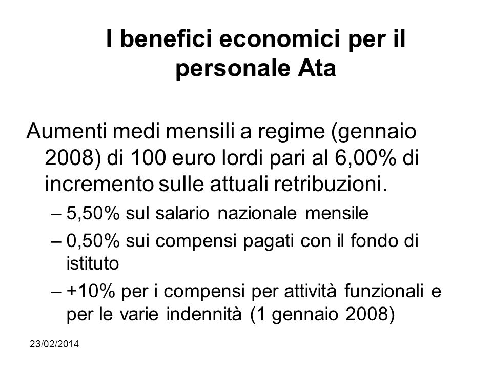 I benefici economici per il personale Ata