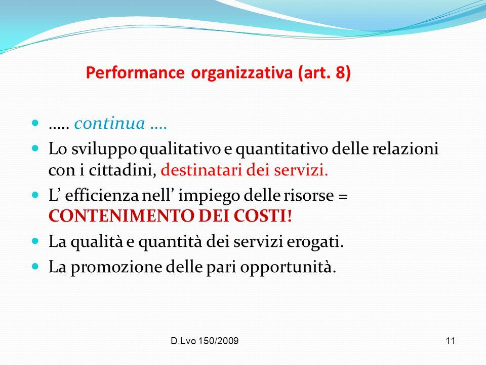 Performance organizzativa (art. 8)