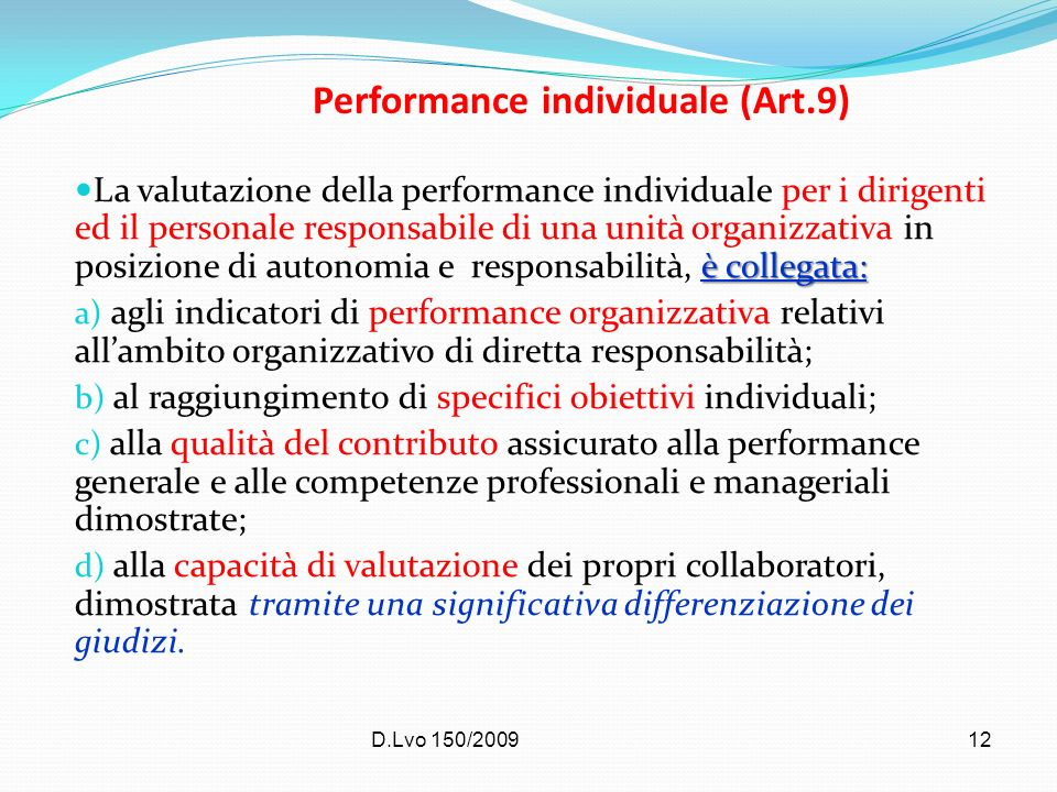 Performance individuale (Art.9)