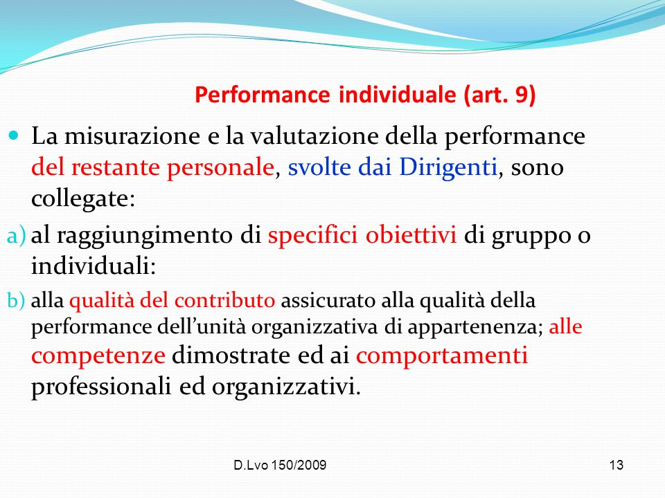 Performance individuale (art. 9)