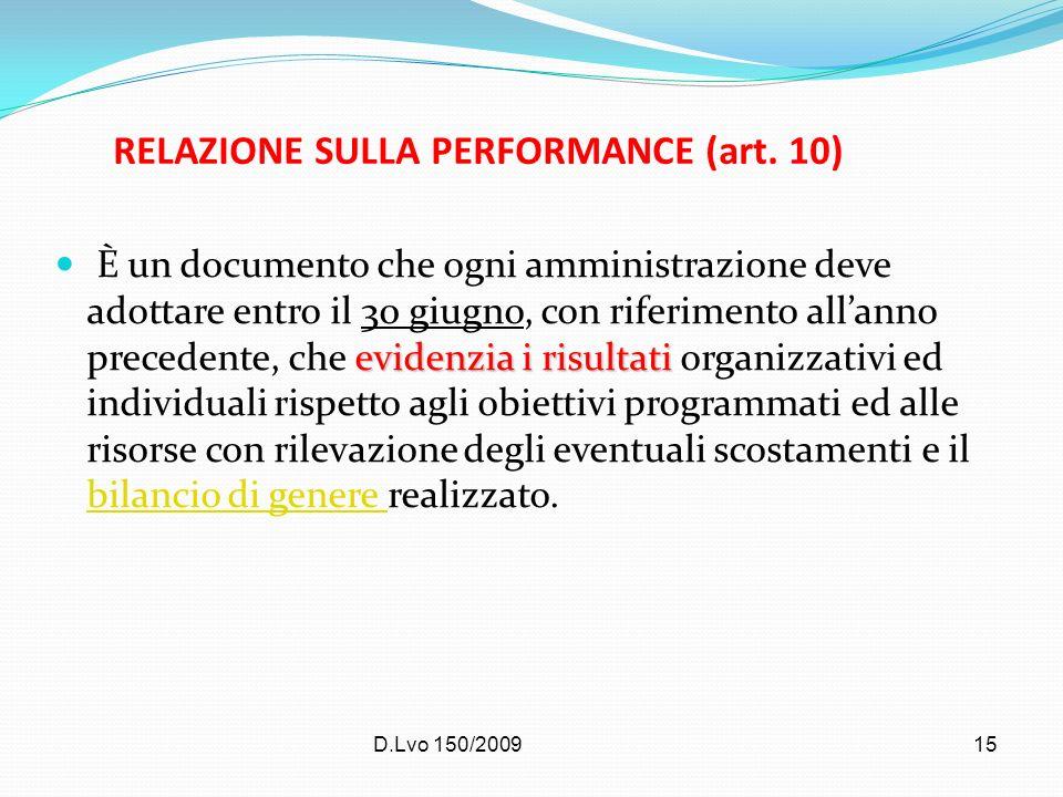 RELAZIONE SULLA PERFORMANCE (art. 10)