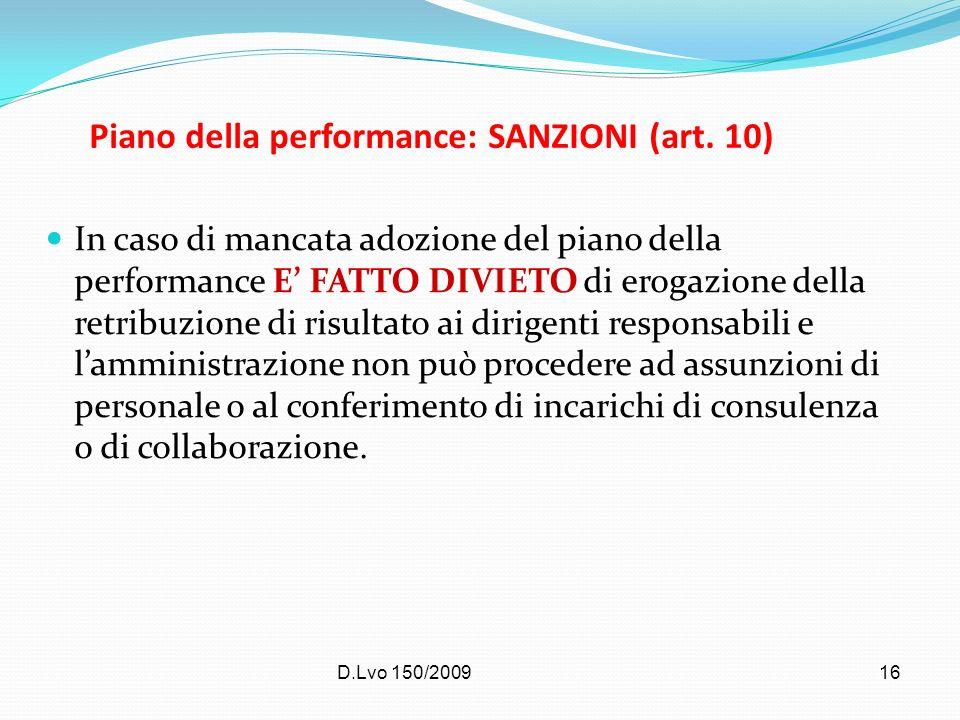 Piano della performance: SANZIONI (art. 10)