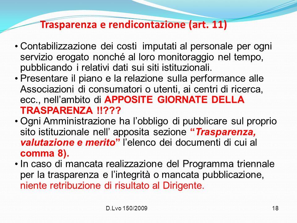 Trasparenza e rendicontazione (art. 11)