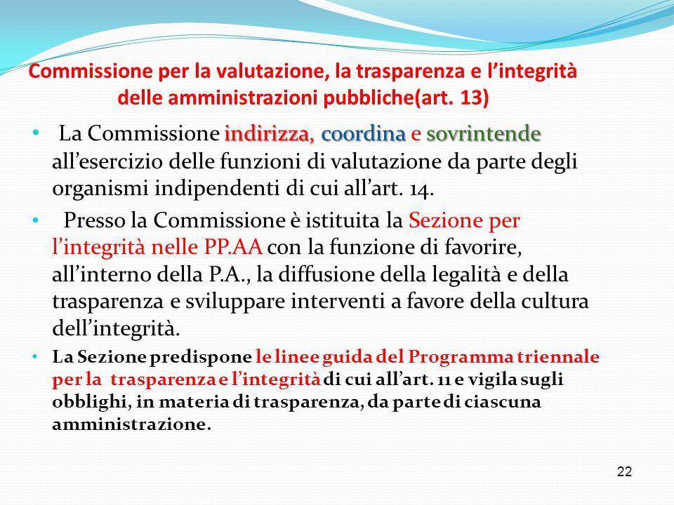 Commissione per la valutazione, la trasparenza e l'integrità delle amministrazioni pubbliche(art. 13)