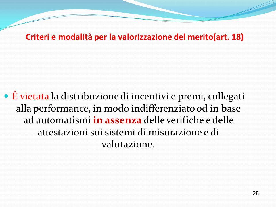 Criteri e modalità per la valorizzazione del merito(art. 18)