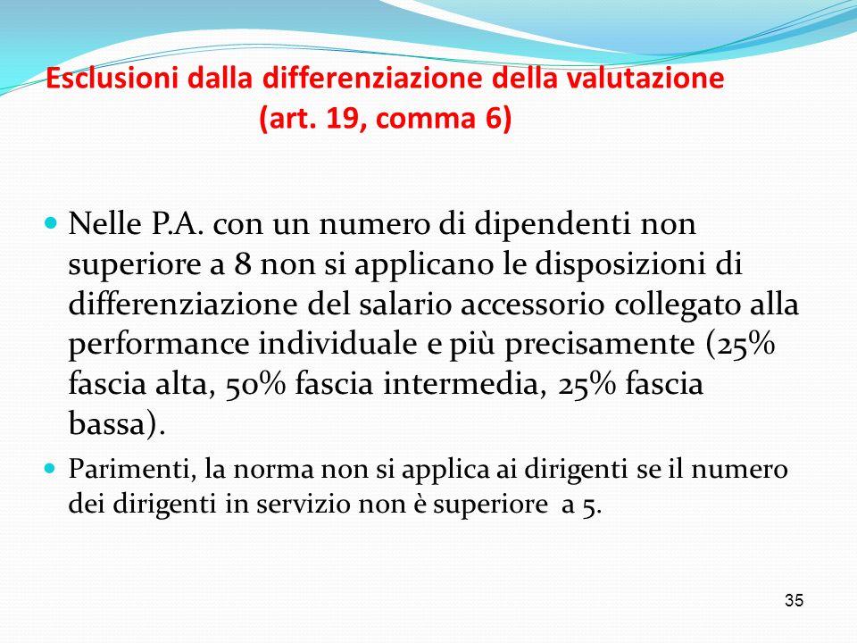 Esclusioni dalla differenziazione della valutazione (art. 19, comma 6)