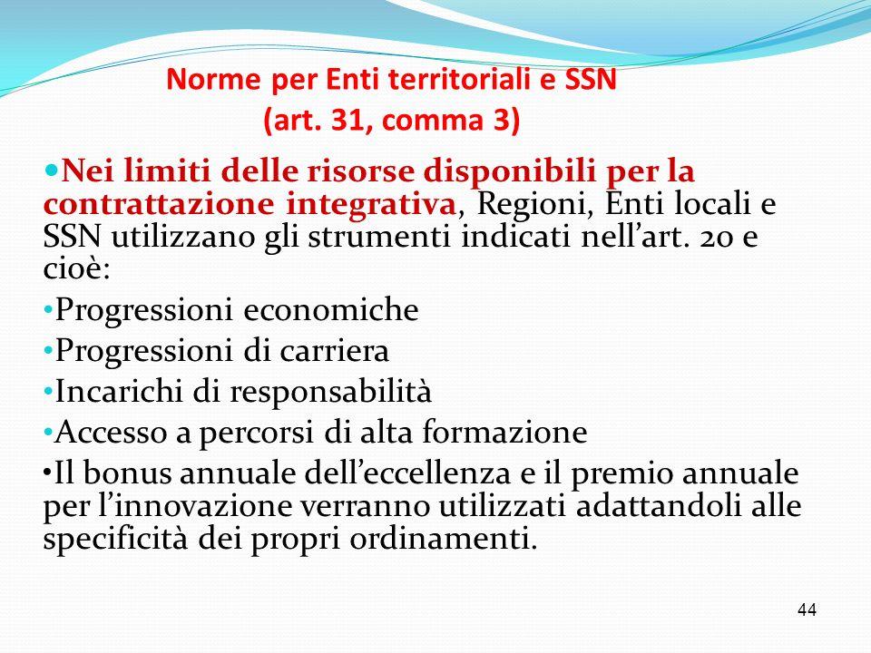 Norme per Enti territoriali e SSN (art. 31, comma 3)
