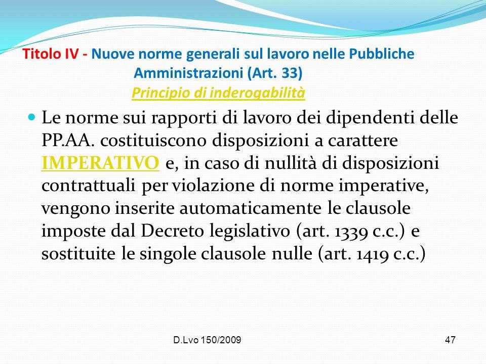 Titolo IV - Nuove norme generali sul lavoro nelle Pubbliche Amministrazioni (Art. 33) Principio di inderogabilità