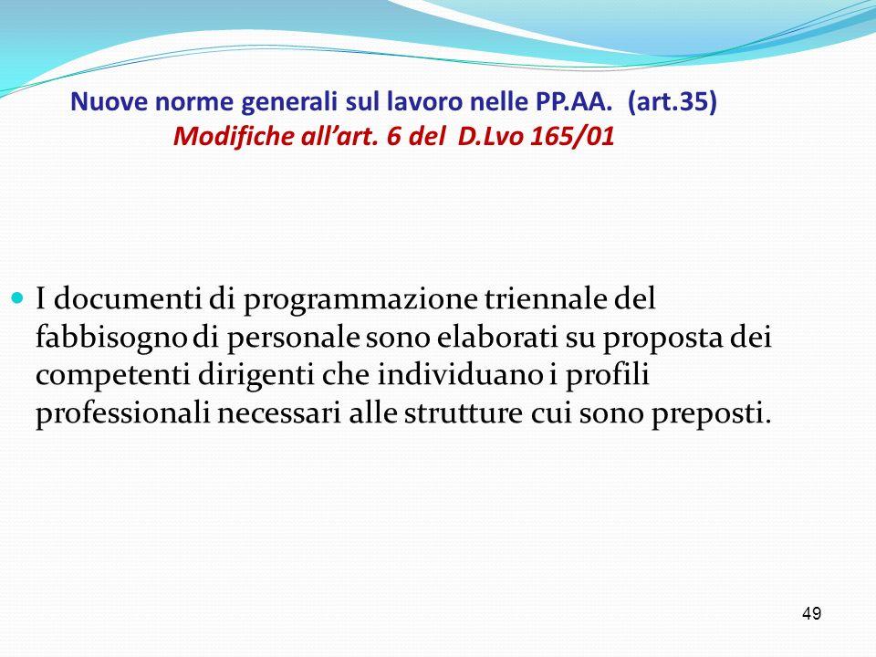 Nuove norme generali sul lavoro nelle PP. AA. (art