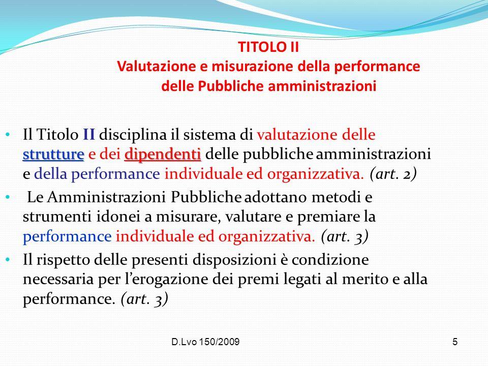 TITOLO II Valutazione e misurazione della performance delle Pubbliche amministrazioni
