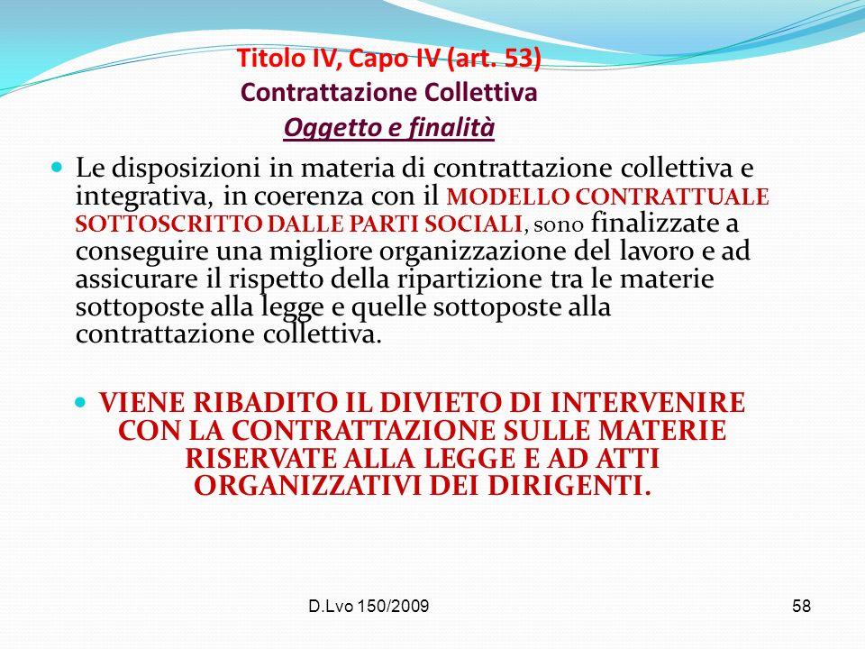 Titolo IV, Capo IV (art. 53) Contrattazione Collettiva Oggetto e finalità