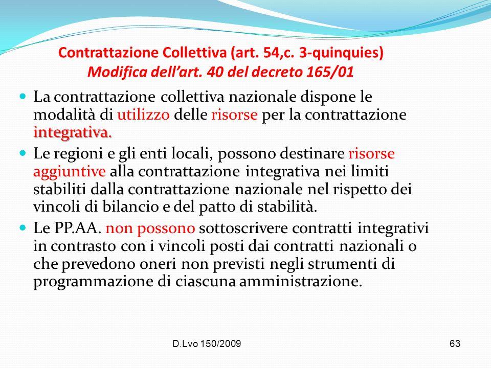 Contrattazione Collettiva (art. 54,c. 3-quinquies) Modifica dell'art