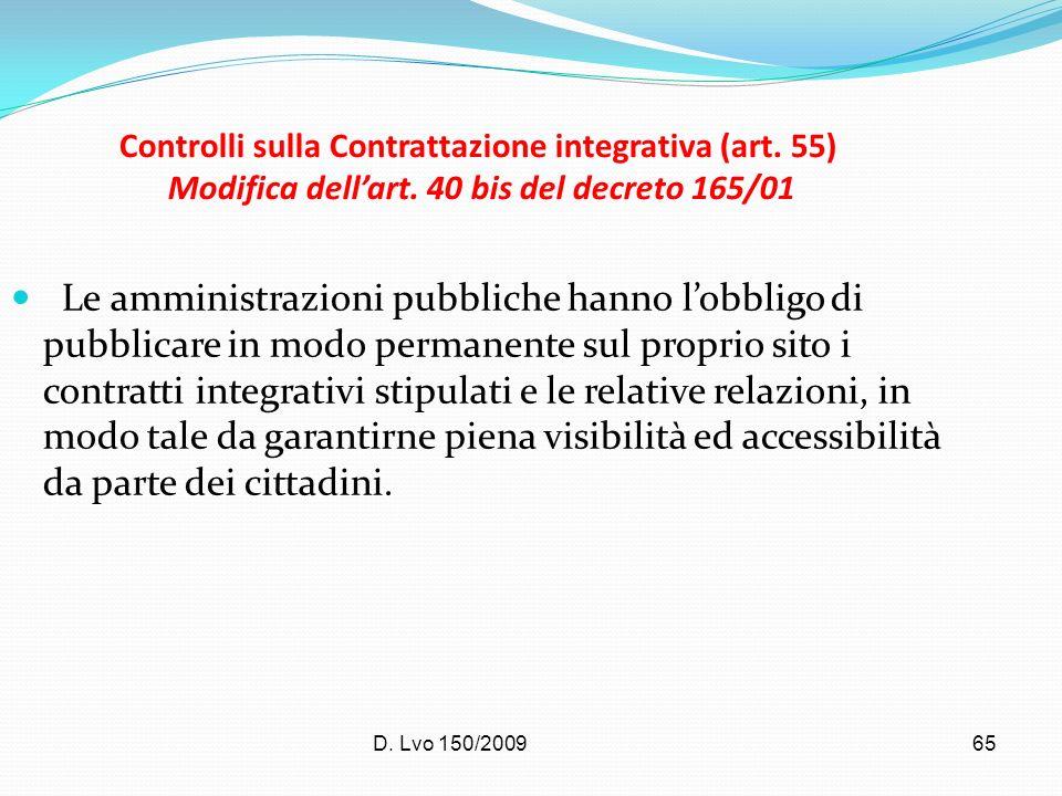 Controlli sulla Contrattazione integrativa (art. 55) Modifica dell'art