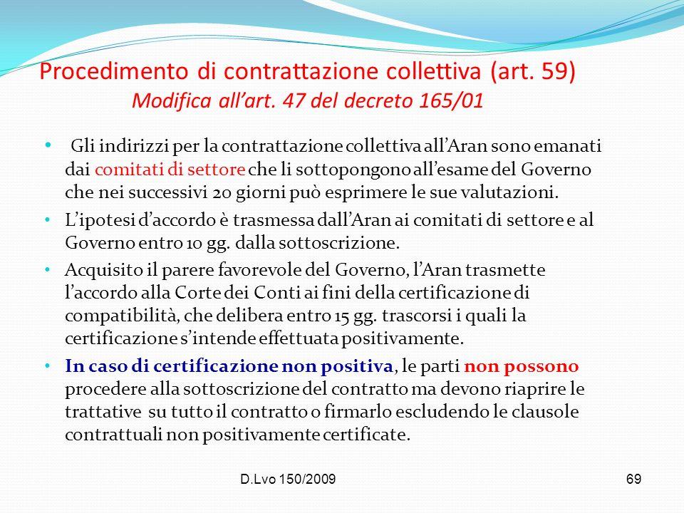 Procedimento di contrattazione collettiva (art. 59) Modifica all'art