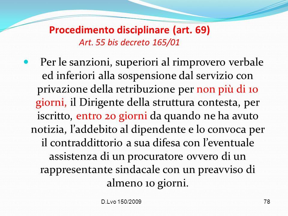 Procedimento disciplinare (art. 69) Art. 55 bis decreto 165/01