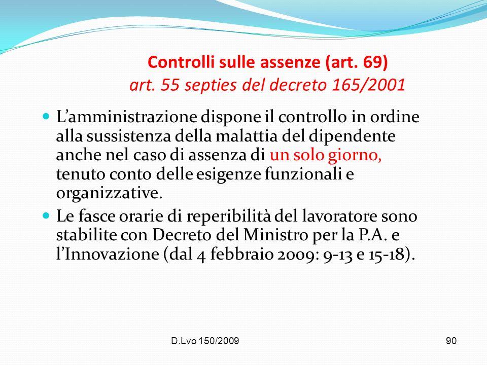 Controlli sulle assenze (art. 69) art. 55 septies del decreto 165/2001
