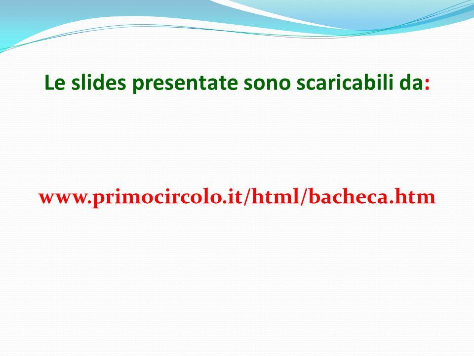 Le slides presentate sono scaricabili da: