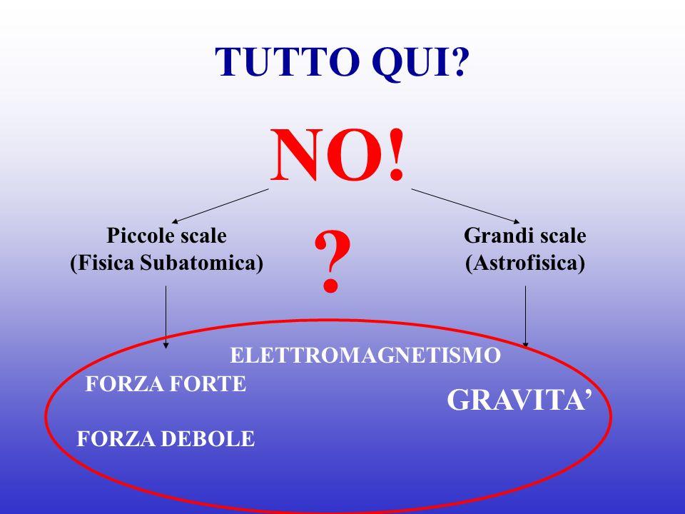 NO! TUTTO QUI GRAVITA' Grandi scale (Astrofisica) Piccole scale