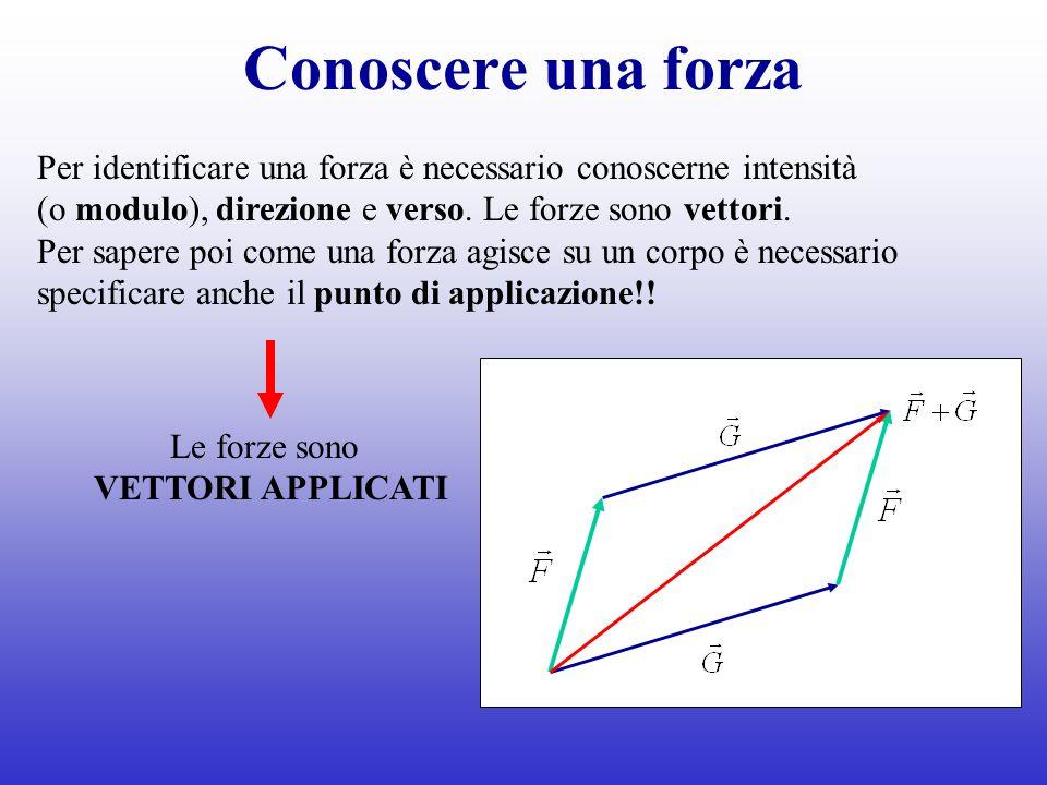 Conoscere una forza Per identificare una forza è necessario conoscerne intensità. (o modulo), direzione e verso. Le forze sono vettori.