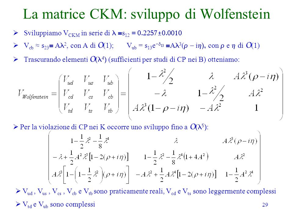 La matrice CKM: sviluppo di Wolfenstein