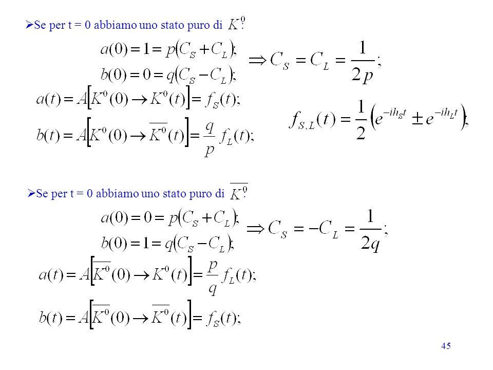 Se per t = 0 abbiamo uno stato puro di :