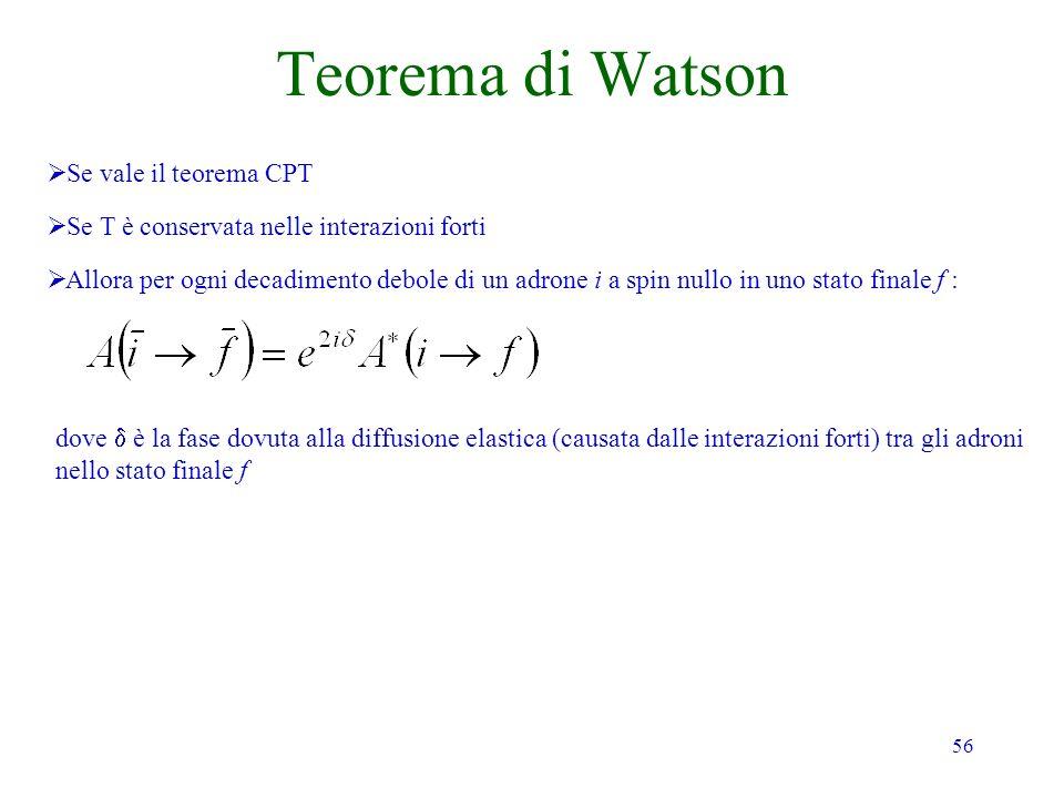 Teorema di Watson Se vale il teorema CPT
