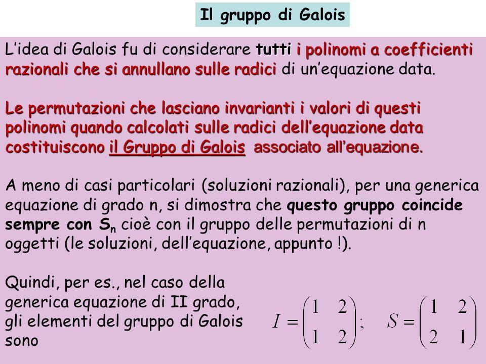 Il gruppo di Galois L'idea di Galois fu di considerare tutti i polinomi a coefficienti razionali che si annullano sulle radici di un'equazione data.
