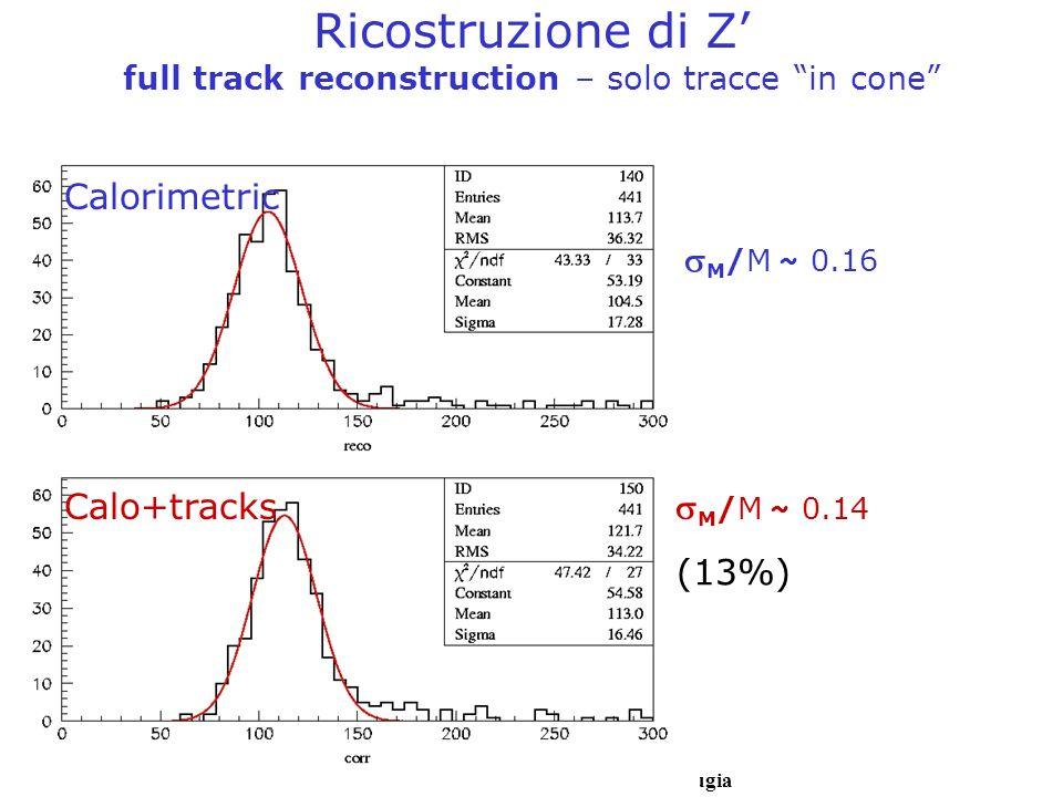 Ricostruzione di Z' full track reconstruction – solo tracce in cone
