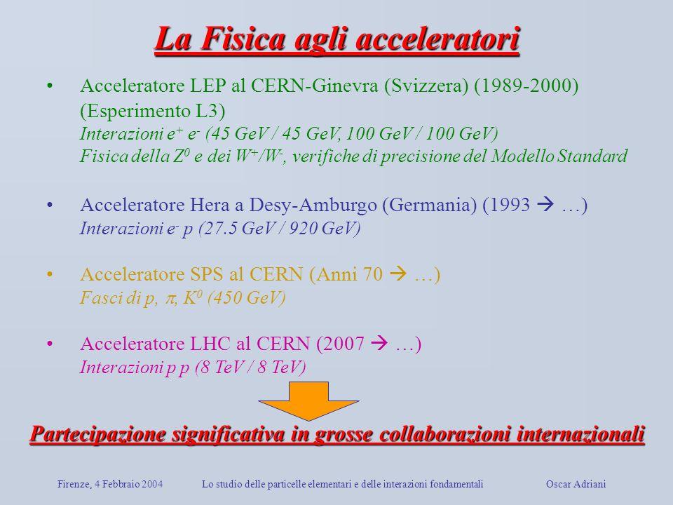La Fisica agli acceleratori