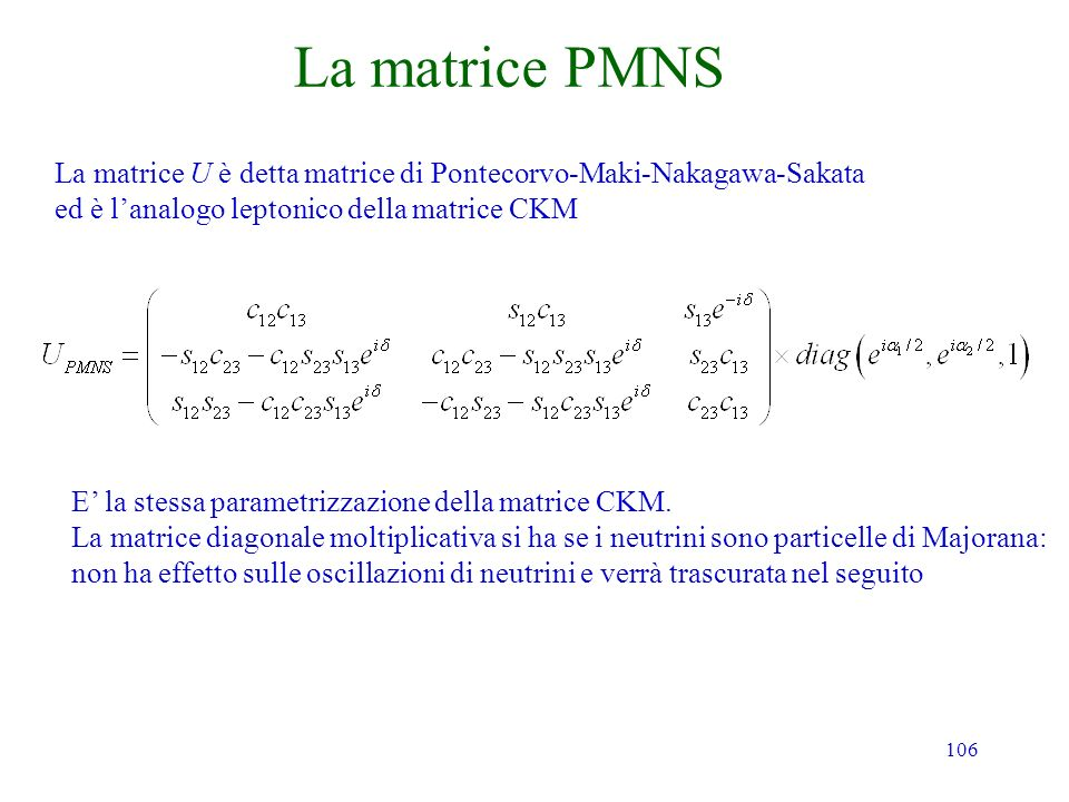 La matrice PMNS La matrice U è detta matrice di Pontecorvo-Maki-Nakagawa-Sakata. ed è l'analogo leptonico della matrice CKM.