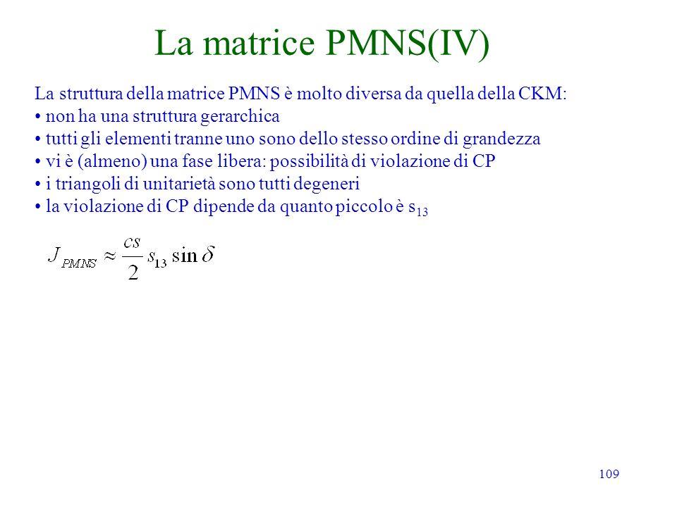 La matrice PMNS(IV) La struttura della matrice PMNS è molto diversa da quella della CKM: non ha una struttura gerarchica.