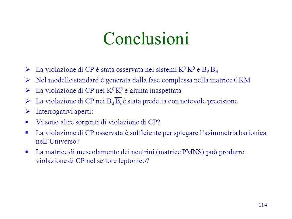 Conclusioni La violazione di CP è stata osservata nei sistemi K0 K0 e Bd Bd. Nel modello standard è generata dalla fase complessa nella matrice CKM.