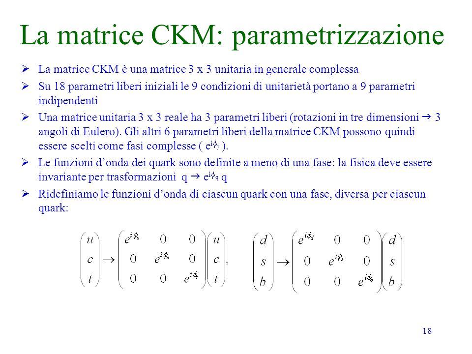 La matrice CKM: parametrizzazione