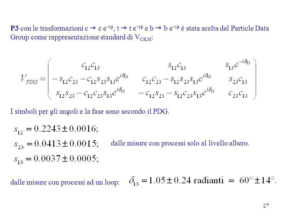 P3 con le trasformazioni c g c e-if, t g t e-if e b g b e-if è stata scelta dal Particle Data
