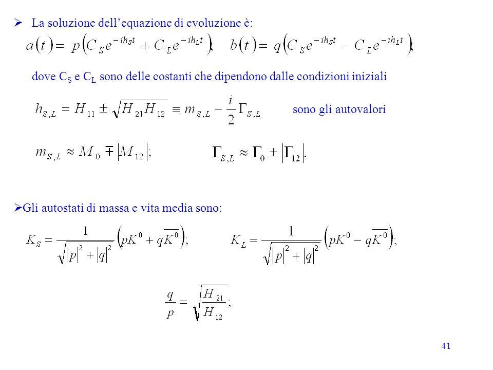 La soluzione dell'equazione di evoluzione è: