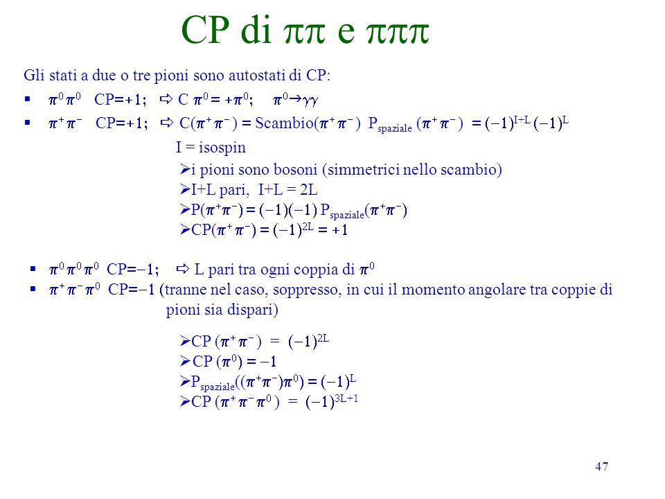 CP di pp e ppp Gli stati a due o tre pioni sono autostati di CP: