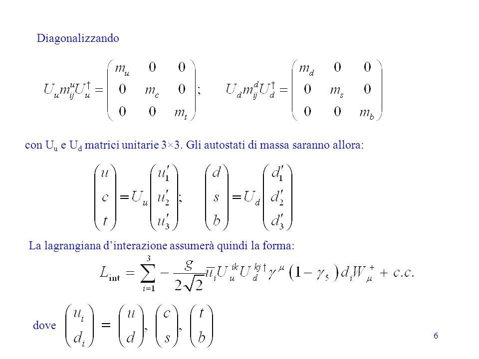 Diagonalizzando con Uu e Ud matrici unitarie 3×3. Gli autostati di massa saranno allora: La lagrangiana d'interazione assumerà quindi la forma: