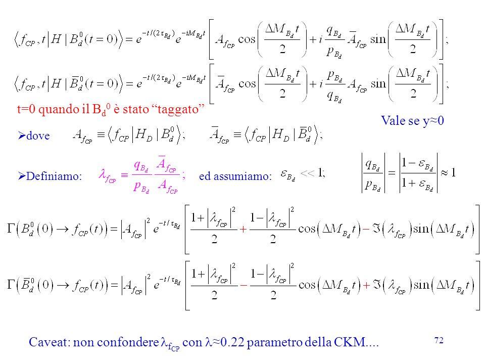 t=0 quando il Bd0 è stato taggato Vale se y≈0
